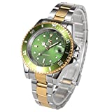 Mens Stainless Steel Skeleton Automatic Mechanical Roman Numerals Green Dial Wrist Watch + Gift Box