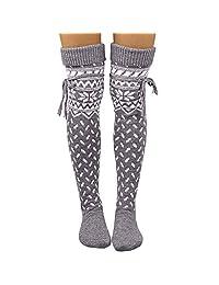 Pervobs Christmas Socks Women Thigh High Long Stockings Xmas Knit Over Knee Socks