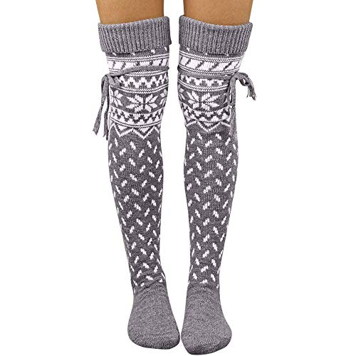 Women Christmas Warm Thigh High Long Stockings Knit Over Knee Socks Xmas (Gray, Free size)
