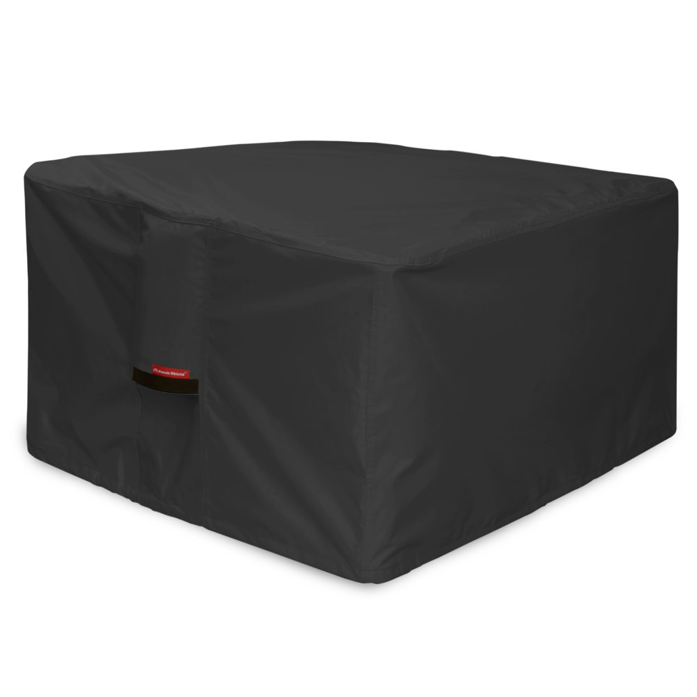 Porch Shield 600D Heavy Duty Patio Square Fire Pit/Table Cover 36 inch, 100% Waterproof, Black