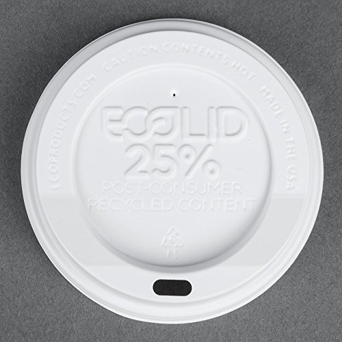 Eco-Products 10, 12, 16, and 20 oz. Recycled Content Hot Paper Cup Lid - White 1000 / Case