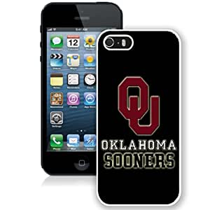 Fashionable And Unique Designed With NCAA Big 12 Conference Big12 Football Oklahoma Sooners 3 Protective Cell Phone Hardshell Cover Case For iPhone 5S Phone Case White
