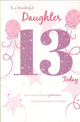 Birthday Greeting Card (ICG-8100) Wonderful Daughter 13th Birthday Card Pink Glitter & Balloons
