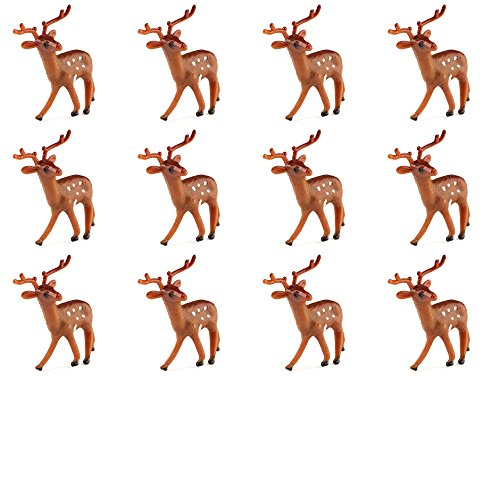 Factory Direct Craft Group of 12 Plastic Standing Brown Deer for Christmas Villages and Everyday Crafting (1 3/4 Inch) (Snowmen Figurine Set)