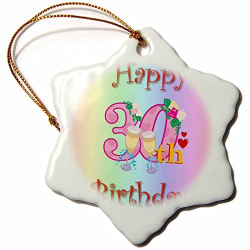 (3dRose orn_158058_1 Happy 30Th Birthday with Rainbow Background-Snowflake Ornament, Porcelain, 3-Inch)