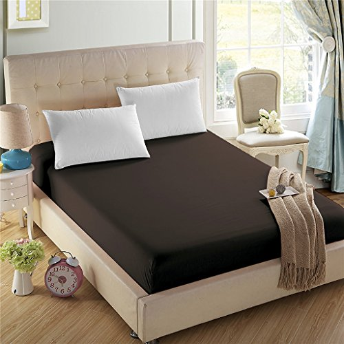 4U LIFE Bedding Fitted Sheet-Prime 1800 Series, Double Brushed Microfiber,Ultra-Soft Feel and Wrinkle,Fade Free, Deep Pocket for Oversized Mattress, Queen, Dark - Chocolate Fitted Sheet