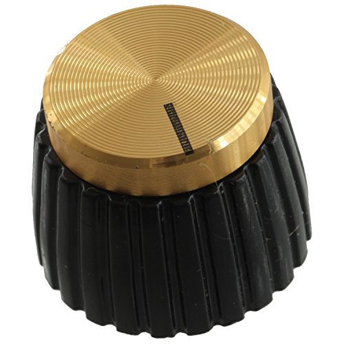 Marshall Style Amplifier Replacement Knob with Set Screw, Black with Gold Cap