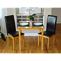 Dining Kitchen Set of 3 pc Classic Square Table and 2 Chairs Fallabella Solid Wooden in Maple Finish