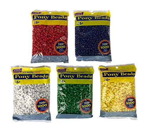 Darice Blue, White, Red, Green, Yellow Plastic Beads -5 Pack- 9mm Opaque 1,000 Count - Bead Green Plastic