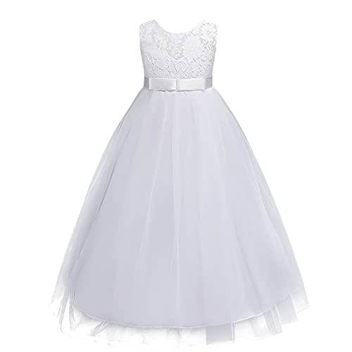 Kids Girls Lace Tulle Wedding Bridesmaid Communion Party Bowknot Dress Formal Pageant Birthday Carnival Prom Dance