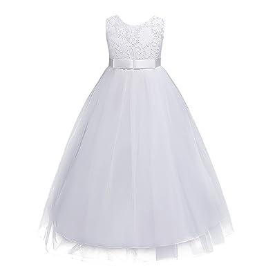 58612aacd35ef OBEEII Fille Robe Longue de Cérémonie en Dentelle Florale Élégante Robe  Princesse sans Manches de Mariage