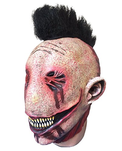 Rubber Johnnies Stitch Mohawk Skull Mask , Slipknot , Halloween Mask , Horror Burnt -
