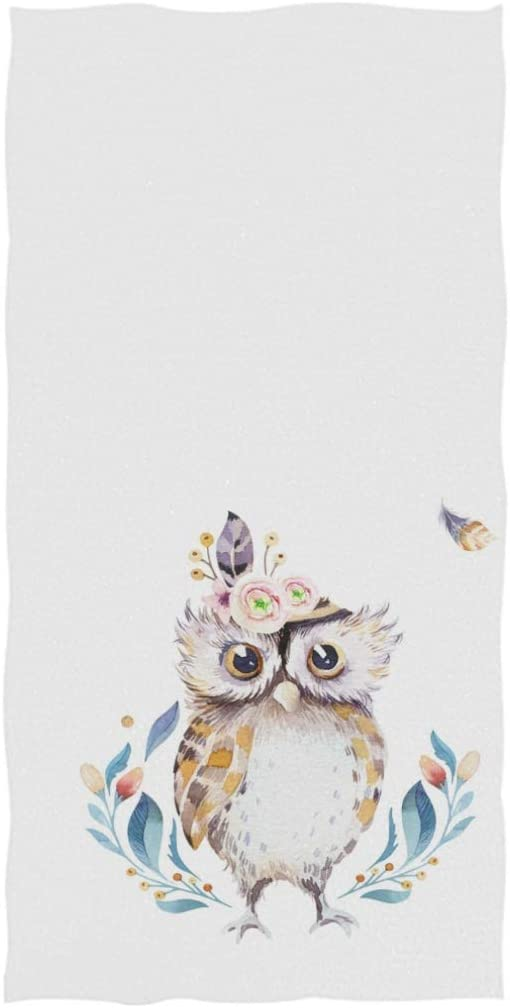 Hotel Gym and Spa 16 x 30,White Naanle Bohemian Cute Cartoon Owl Forest Pattern Soft Absorbent Large Hand Towels Multipurpose for Bathroom