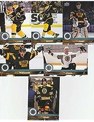 2017-18 Upper Deck Complete Boston Bruins Team Set of 13 Cards in a 4-Pocket Notebook: Brad Marchand(#13), Brandon Carlo(#14), David Backes(#15), Torey Krug(#16), Tuukka Rask(#17), Zdeno Chara(#18), David Krejci(#263), Patrice Bergeron(#264), David Pastrnak(#265), Ryan Spooner(#266), Riley Nash(#267), Matt Beleskey(#268), Frank Vatrano(#269)