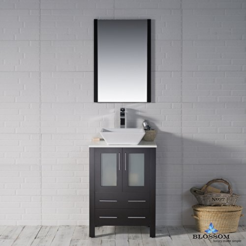 BLOSSOM 001-24-02-1616V Sydney 24'' Vanity Set with Vessel Sink and Mirror Espresso by Blossom