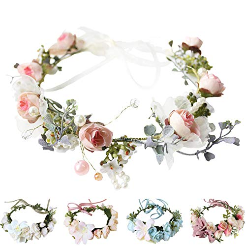 Flower Hat Band - Handmade Adjustable Flower Wreath Headband Halo Floral Crown Garland Headpiece Wedding Festival Party (N-(Light Pink))