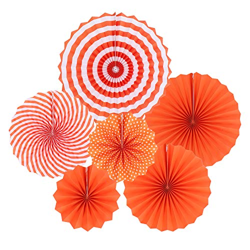 Zilue Hanging Orange Paper Fans Decoration Set for Wedding Birthday Party Halloween Day Round Events Accessories Set of -