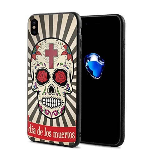 Phone Case Cover Compatible with iPhone X XS,Floral Design Sugar Skull with Religious Cross On Sunburst Pattern,Compatible with iPhone X/XS 5.8