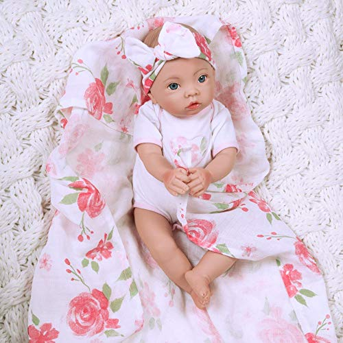 Paradise Galleries Newborn Baby Doll 16 inch Reborn Preemie, Swaddlers: Rose Petal, Safety Tested for 6+, 4-Piece Set