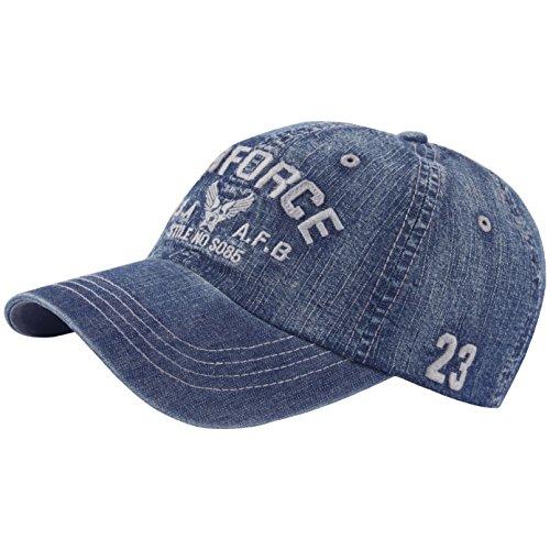 RaOn B418 New Denim Vintage Washing AIR Force Ball Cap Military Baseball Hat Truckers (Blue)