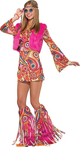 Fancy Dress Hippy (Ladies 1970's Flower Fancy Dress Party Outfit Hippy Fur-rever Groovy Costume)