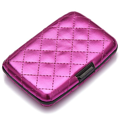 All Aluminum Case (Elfish Mini Aluminum RFID Blocking Credit Card Holder for Men Women - Slim Travel Wallet (purple))