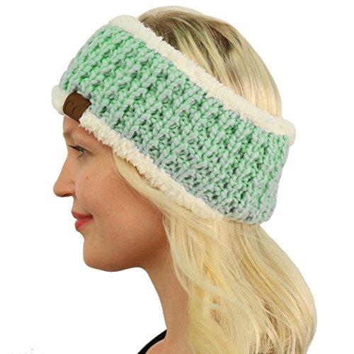 Lined Polar Fleece (Winter CC Sherpa Polar Fleece Lined Thick Knit Headband Headwrap Hat Cap Mint)