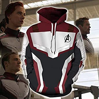 Endgame Hoodie Avengers 4 Cosplay Costume Zip Up Jacket Sweater Sweatshirt Coat With Pockets