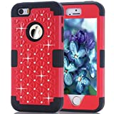 iPhone SE Case, Speedup Diamond Studded Crystal Rhinestone 3 in 1 Bling Hybrid Shockproof Cover Silicone and Hard PC Case For Apple iPhone SE (2016) & iPhone 5S / 5 (2013) (Red Black)