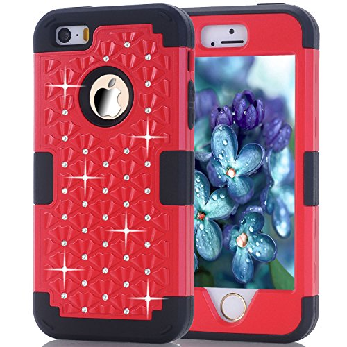 dup Diamond Studded Crystal Rhinestone 3 in 1 Bling Hybrid Shockproof Cover Silicone and Hard PC Case For Apple iPhone SE (2016) & iPhone 5S / 5 (2013) (Red Black) ()