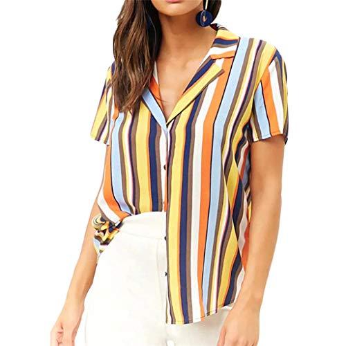 Claystyle Camisa de Verano para Mujer Camiseta de Manga Corta Casual para Mujer con Blusa de Rayas estampada Yellow