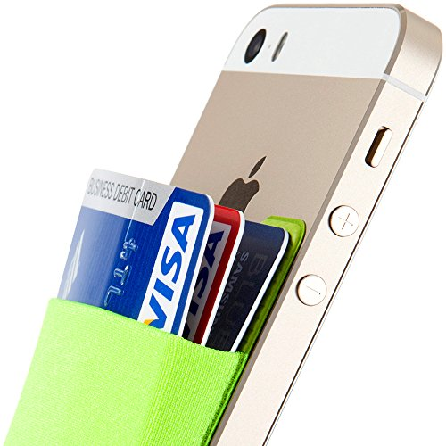 Sinjimoru Card Holder for Back of Phone, Stick on Wallet Functioning as Card Sleeves, Cell Phone Credit Card Holder, Minimallist Wallet Sticker for iPhone. Sinji Pouch Basic 2, Light Green.