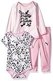 PUMA Baby Girls Three Piece Creeper Bodysuit Set, Petal Pink, 12M