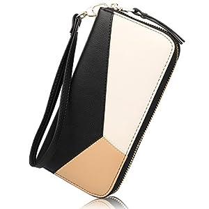 Women's Long Leather Card Holder Purse Zipper Buckle Hit Color Wallet