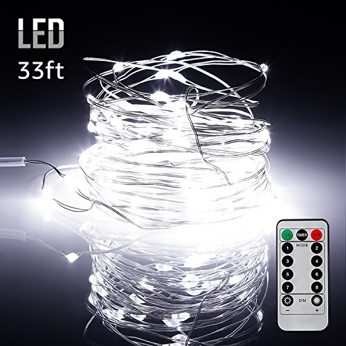 33ft 100LEDs Fairy String Lights Dimmable with Remote Control, Waterproof Copper Wire Firefly Lights for Christmas Bedroom Wedding Garden Patio Festival Party Decor, UL-listed USB Adapter, Daylight