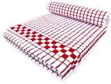 Fecido Classic Kitchen Dish Towels with Hanging Loop - Heavy Duty Absorbent Dish Clothes - European Made 100% Cotton Tea Towels - Set of Two, Red