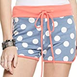 Marilyn & Main Women's French Terry Polka Dot Shorts (Small , Light Blue Polka Dot)