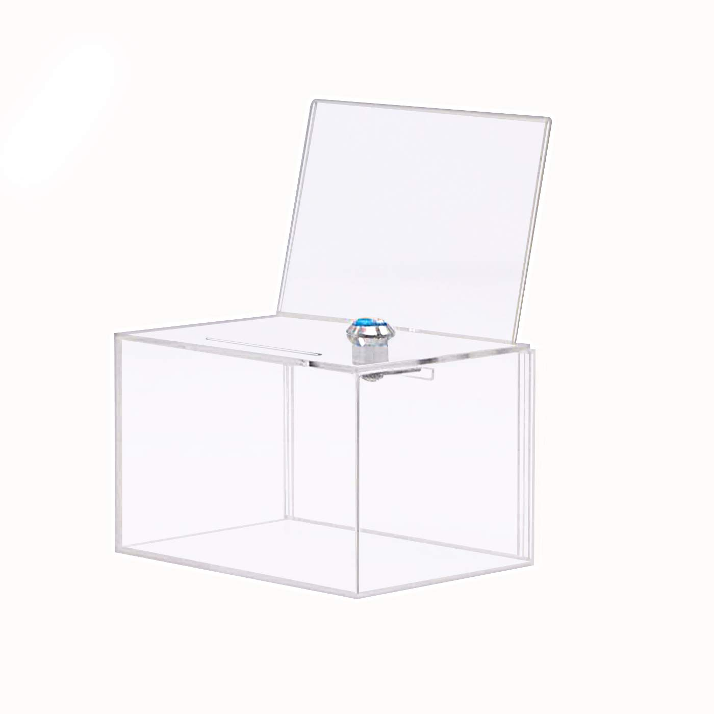 Donation Box with Lock,Acrylic Ballot/Suggestion Box with 4x6 Ad Frame, Clear Storage Container Ticket Vote Box by SupperAcrylic