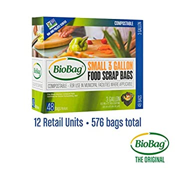 Image of BioBag, The Original Compostable Bag, Kitchen Food Scrap Bags, ASTMD6400 Certified 100% Compostable Bags, Biodegradable Products Institute & VINCOTTE OK Home Certified, Non GMO, 3 Gallon, 576 Count
