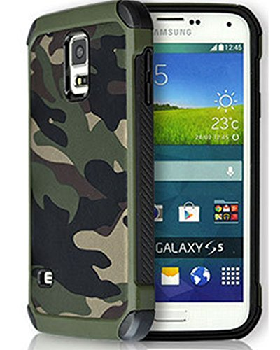 S5 Case,Samsung galaxy S5 Camo Case Defender Shockproof Drop proof High Impact Armor Plastic and Leather TPU Hybrid Rugged Camouflage Cover Case for for Samsung Galaxy S 5 SV - (Soldiers Cover)