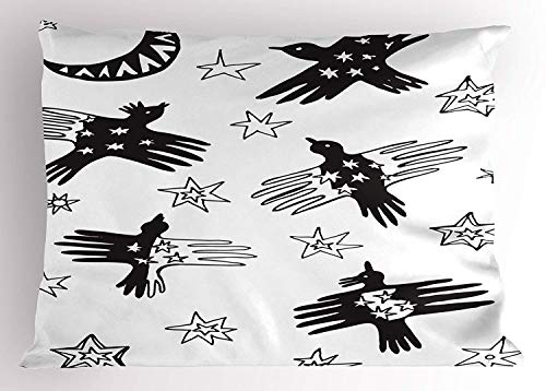 Printawe Raven Pillow Sham, Birds in The Sky Doodle Style Pattern Crescent Moon and Stars Fun Fantasy Art, Decorative Standard Queen Size Printed Pillowcase, 30 X 20 inches, Black and White -
