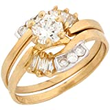 Best Jewelry Liquidation Wedding Ring Sets - 10k Yellow Gold White 1.14ct CZ Eternal Design Review
