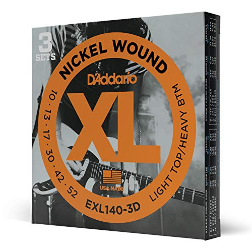 D'Addario Nickel Wound Electric Guitar Strings, 3-Pack, Lt. Top/Hvy. Bottom, 10-52