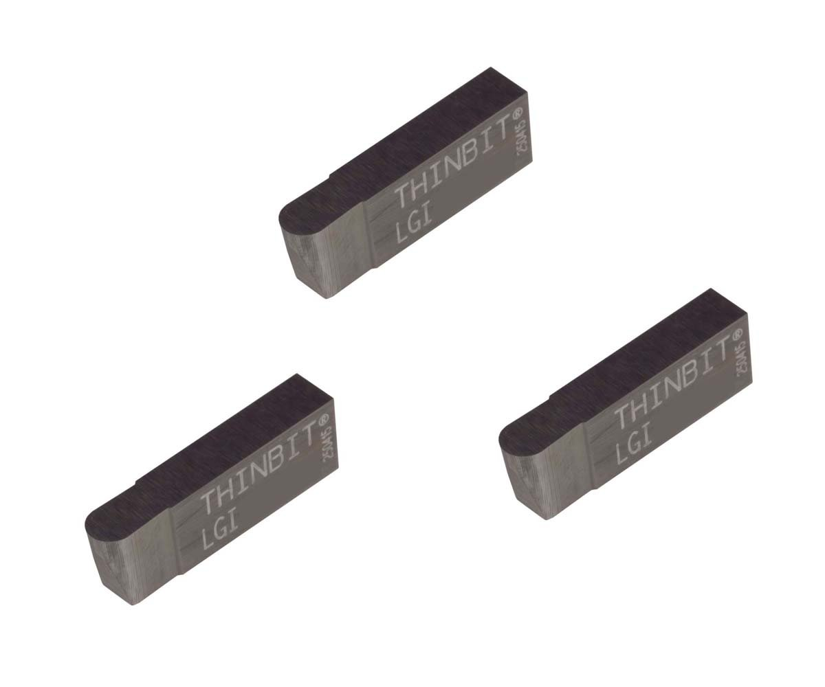 Uncoated Carbide Grooving Insert for Steel Full Radius THINBIT 3 Pack LGI105D2FR 0.105 Width 0.158 Depth Cast Iron and Stainless Steel with Interrupted Cuts