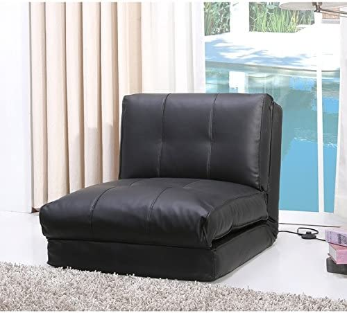 Darlington Black Leather Single Sleeper Chair