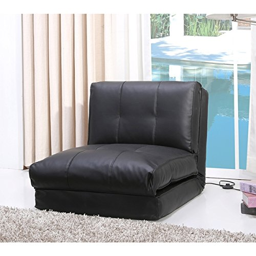 Darlington Black Leather Single Sleeper Chair - Black Vinyl Futon Sofa