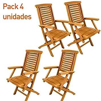 Edenjardi Pack 4 sillones teca plegable - Portes Gratis ...