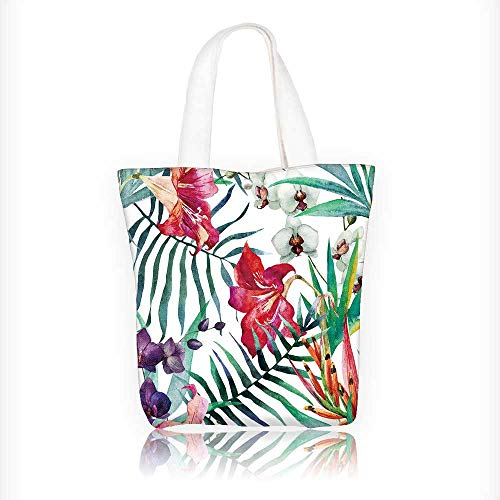 Reusable Cotton Canvas Zipper bag watercolor,tropical,pattern,wallpaper,background,birds of paradise,orchids Tote Laptop Beach Handbags W16.5xH14xD7 ()