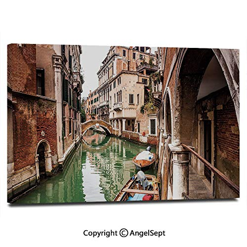- Canvas Prints Modern Art Framed Wall Mural Famous Water Canals in Italy Boats Bridge Brickwork Architecture Old City Decorative Wall Decorations for Living Room Bedroom Dining Room Bathroom Office,C