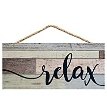 Relax Weathered Look 5 x 10 Wood Plank Design Hanging Sign